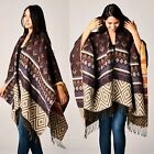 BOHO REVERSIBLE SOUTHWEST TAPESTRY BLANKET FRINGE PONCHO RUANA WRAP X-LONG Brown