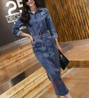 Womens Fahion Long Denim Dress High Waist Design Single Breasted Slim Fit Dress