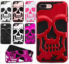 For Apple iPhone 8 & 8 PLUS SKULL Hard Hybrid Dual Layer Rubber Phone Case Cover