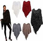 Womens Asymmetric Tassel Fringe Ruffle Poncho Ladies Long Slanted Cape Jumper