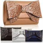Glitter Sparkle Bow Faux Leather Evening Bag Bridal Prom Party Clutch Long Chain