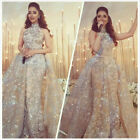 Charming Arabic Evening Gowns High Neck Sleeveless Prom Party Formal Dresses