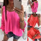 Ladies Summer Loose Tops Blouse Floral Chiffon T-Shirt Women Lace Cold Shoulder@