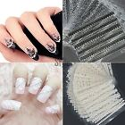 30 Sheets 3D Lace Nail Art Stickers Black White DIY Tips Decal Manicure Tools UK