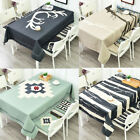 5 Patterns Cotton Linen Rectangle Tablecloth Dining Room Square Table Cover