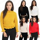 Womens Ladies Ruffle Frill  Edge Chunky Knit Polo Turtle Neck Crop Jumper Top