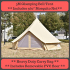 Bell Tent Glamping Tents Camping Bell Tent 4m & 5m Waterproof Yurt Cotton Canvas