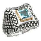 Avanti Sterling Silver and 18k Gold Blue Topaz Ring