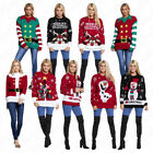 Womens Christmas Novelty Ladies Xmas Santa Snowman Print Sweater Knitted Jumpers