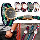 Men's Casual Wooden Watch Wood Quartz Analog Wrist Bamboo Watch with Nylon Band