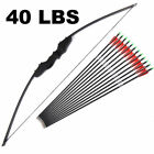 Внешний вид - 30/40lbs Archery American Hunting Straight bow & Carbon Arrows Set Black YN-1