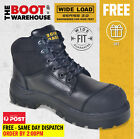 Wide Load 'S3' 690BL Extra Wide, Steel Cap Work Boots. Oiled Kip Black. Lace-Up
