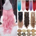 US Mega Thick 8Pcs 18Clips Clip In Hair Extensions Straight Curly For Human TH6