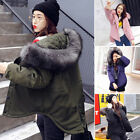 Fashion Winter Women's Casual Warm Fur Collar Hooded Quilted Coat Jacket Outwear