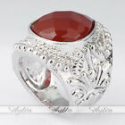 Fashion Red Agate Waterdrop Stainless Steel Finger Rings Jewlery Gift US10 Size