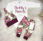 USA Stock Newborn Baby Girls Flower Romper Pants Leggings Hat Outfit Set Clothes фото