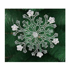 2 x Clear Glitter Snowflake Christmas hanging Tree Decorations