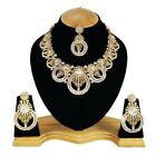 White Kundan Designer Gold Plated Indian Handmade Party wear Zercon Necklace Set