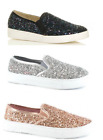 ELLA Victoria Womens Sparkly Flat Skater Pump in 3 Different Colours Last Pairs