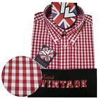 Warrior UK England Button Down Shirt GOVER Slim-Fit Skinhead Mod Retro