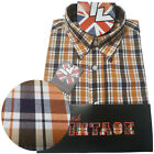 Warrior UK England Button Down Shirt STAMP Hemd Slim-Fit Skinhead Mod