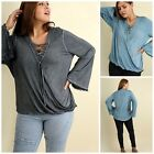 UMGEE PLUS Hi Low Garment Dyed Lace Up Bell Sleeve Tunic Ash or Denim XL-2X $58