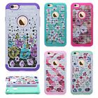 For Apple iPhone 6 / 6s HYBRID IMPACT Hard Dazzling Diamond Case + Screen Guard
