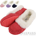 Ladies / Womens Luxury Lambswool Suede Slipper / Moccasin with Rubber Sole