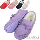 Ladies / Womens Luxury Lambswool Suede Moccasin / Slipper with Rubber Sole