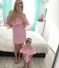 2017 Family Clothes Dresses Mother Mum Baby Girl Ruffled Off Shoulder Dress BABY