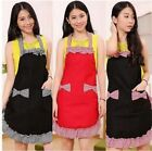 Women Cute Home Kitchen Restaurant Bib Kitchener Cooking Dress BowKnot Aprons