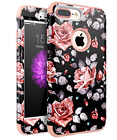 Protective Flower Case Cover For iPhone 7 8 Plus Shockproof Heavy Duty Cute Rose