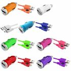Universal USB Mini DC Car Charger Adapter + Micro USB Data Charging Cable Cord