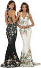 NEW MERMAID PROM SPECIAL OCCASION HALTER FORMAL EVENING GOWN FLORAL PRINT DRESS