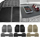 auto dash mats - 3PCS Trimmable Rubber Heavy Duty Floor Mats for Auto w/ Dash Pad