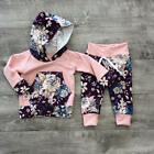 Baby - US Stock Kids Baby Girls Floral Clothes Set Hooded Tops Long Pants Outfits 0-3T