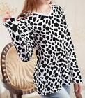 Cow Print Women Lady V Neck Long Sleeve Tee T-shirt b108 acq02587