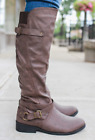 QUPID Dark Taupe Double Wrap Buckle Low Heel Round Toe Riding Boots PL-175BX