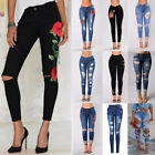 Women's High Waist Ripped Denim Jeans Flower Embroidered Skinny Stretch Trouser
