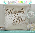 PERSONALISED CUSHION HAPPILY EVER AFTER CRUSHED VELVET GIFT WEDDING ANNIVERSARY