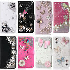 New Wallet Crystal Rhinestone Case Flip Stand PU Leather Diamond Cover for Moto