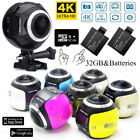 360 Degree Wifi 4K 1080P Panoramic Sports Camera Action Dash Driving VR Cam 32GB
