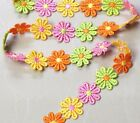25 mm 4 Coloured Daisy Flower Lace Trim Sewing Craft  Headband - 25mm - 1 m