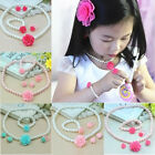 Kids Girls Child Pearl Flower Necklace Bracelet Ring Ear Clips Jewelry Set Gift