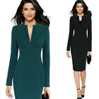 Womens Elegant V-Neck Work Business Office Party Bodycon Vestidos Sheath Dress