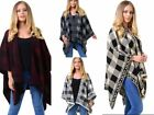 New Ladies CHECKED DIAMOND BORDER REVERSEABLE KNITTED WOMEN SHAWL One Size