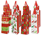 12 Christmas Gift Bags Wine Bottle Kraft Paper Bag Wrap Lot Wrapping Bulk Gifts