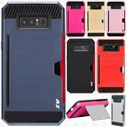 For Samsung Galaxy Note 8 Brushed NEST HYBRID CARD Kickstand Case Phone Cover