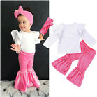 Fashion Toddler Infant Baby Kids Girls Clothes Tops Pants Headband 3Pcs Outfits