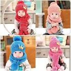 Kid Baby Warm Cute Crown Pompon Décor Knitted Beanie Hat & Long Scarf Set FT